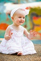 baby girl smiling and waving, nashville, tennessee, united states of america