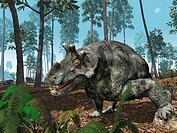 Estemmenosuchus. Computer artwork of Estemmenosuchus uralensis grazing on a wooded hilltop near the Ural Mountains, in what is now the Perm region of ...