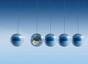 Newtonian Earth. Conceptual artwork of the Earth as one of the balls in a Newton´s cradle. This image can represent concepts such as the impact and ef...