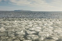 thunder bay, ontario, canada, ice along the shore of lake superior in winter