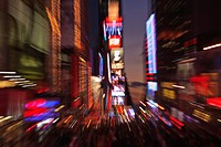 manhattan, new york city, new york, united states of america, zoomed effect of the lights at times square