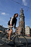 BIKE AND BAROQUE TOWER OF MUNTTOREN, MUNTPLEIN, AMSTERDAM, NETHERLANDS