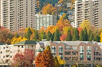 oregon health & science university and marquam hill in autumn, portland, oregon, unite states of america