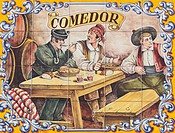 ceramic tile painting of men in typical 19th century country clothing advertising a comedor or dining room outside a restaurant, guadalupe, caceres, s...