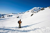 Man Snowshoeing the Skyline Trail - Mount Rainier National Park, Washington State