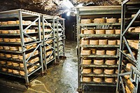 Arenas de Cabrales. Cabrales Cheese Exposition Cave and Cares River. Picos de Europa. Oriente region.  Asturias. Spain.