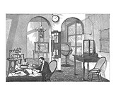 Meteorologist. Historical artwork of a meteorologist working at his desk. Various meteorological devices are seen around the room, some of them connec...