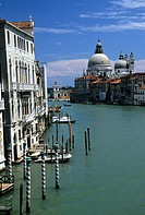 Looking along the Grand Canal towards the Chiesa di Santa Maria della Salute in Venice