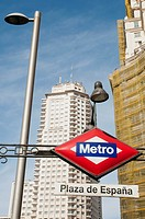 Metro Plaza de Espa&#241;a entrance and Torre de Madrid, Gran V&#237;a street. Madrid, Spain