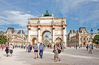 France-August 2010 Paris City Carrousel Arc du Triumph and Louvre Museum.