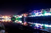 Pheonix Old City, Tuojiang River, Nightlife, Phoenix County Province, Hunan Province, China, Asia