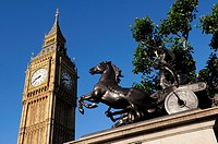 Statue of Boudicca,Queen of the Iceni, and Big Ben, London, England, UK