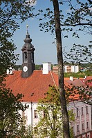 Estonia, Southeastern Estonia, Tartu, Toomemagi, Cathedral Hill, elevated view of town hall