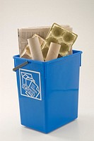 Blue recycling bin for paper