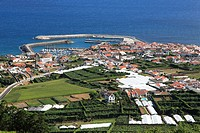 Landscape from the south coast of Sao Miguel island, Azores, showing the new port facilities in the town of Vila Franca do Campo