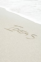 The word ideas written in the sand at the beach