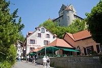The old town center of Meersburg with view towards Meersburg Castle, Old Castle and Dagobert-Tower, Germany