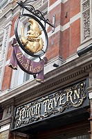Punch Tavern Pub Sign and Entrance on Fleet Street in London