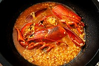 Rice with lobster, Ebro river delta, Tarragona province, Catalonia, Spain