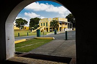 Custom House, seen from near scale in Scale House, Christiansted National Historic Site, St Croix, US Virgin Islands