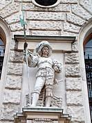 -Statue of soldier in facade- Heldenplatz, Wien (Austria).