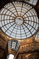 Dome and interior of Vittorio Emanuele II Shopping Gallery in Milan, Italy