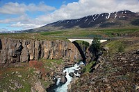 LANDSCAPE WITH RIVER IN THE AREA AROUND AKUREYRI, NORTHERN ICELAND, EUROPE, ICELAND