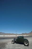 Vintage car on salt flat