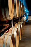 Wine Barrels Hall in Somontano winery  Barbastro  Huesca  Aragon  Spain