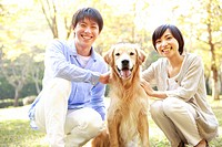 Young Couple and a Domestic Dog