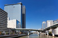 Office buildings, highway and Dojima river, Osaka Prefecture, Honshu, Japan