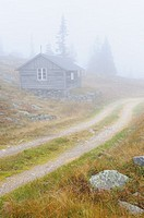 Hut in mist, Dalarna, Sweden, Scandinavia, Europe