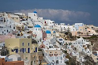 Greece, Cyclades, Santorini, Oia, view of town ...