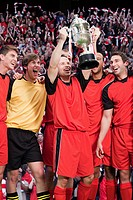 Football team winning a trophy (thumbnail)