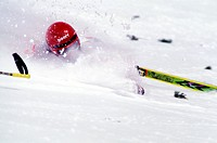 Skiing competition, men: skier falling                                                                                                                ...