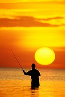 Usa, Florida, Keys, fly fisherman