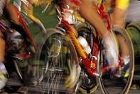 Detail of blurred cycling competition                                                                                                                 ...