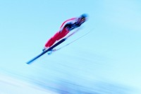 Ski jumper in action                                                                                                                                  ...