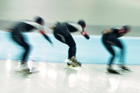Speedskaters team in action                                                                                                                           ...