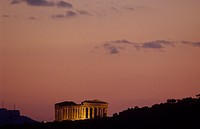 Sicily, Agrigento, the Concordia temple at sunset                                                                                                     ...