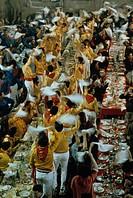 Gubbio. Traditional feast in Palazzo dei Consoli