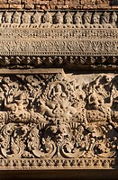 Sandstone lentil with a Cheppu guardian deity at Bakong, the 9th century state Hindu temple of Indravarman I in the Roluos District of Angkor Wat _ Ca...