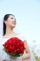 Wedding, a bride holding a bouquet