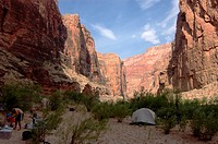 Camping at TATAHATSO CAMP at mile 36 along the Colorado River _ GRAND CANYON, ARIZONA