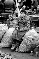 Child labor, boy at the market of Konya, Turkey