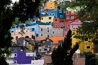 The HOUSES of the HISTORICAL town of GUANAJUATO are painted bright colors _ MEXICO