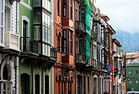 Balconies of the streets of Llanes Asturias