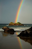 Rainbow over the beach Celorio Llanes, Asturias