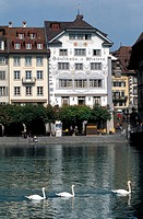 Switzerland, Lucerne, city and view on the lake