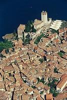 Italy, Veneto, Garda lake, Malcesine town aerial view